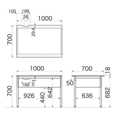 Garage(ガラージ) Y2シリーズ デスク(幕板付) 平机 引出し無し 木目 幅1000×奥行700×高さ700mm 1台 (直送品)