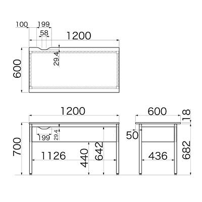 Garage(ガラージ) Y2シリーズ デスク(幕板付) 幅1200mm 奥行き600mm 木目 1台 (直送品)