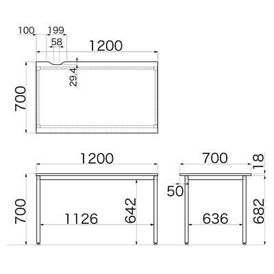 Garage(ガラージ) CLシリーズ デスク 平机 引出し無し 濃茶 幅1200×奥行700×高さ700mm 1台 (直送品)