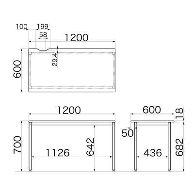 Garage(ガラージ) CLシリーズ デスク 平机 引出し無し 濃茶 幅1200×奥行600×高さ700mm 1台 (直送品)