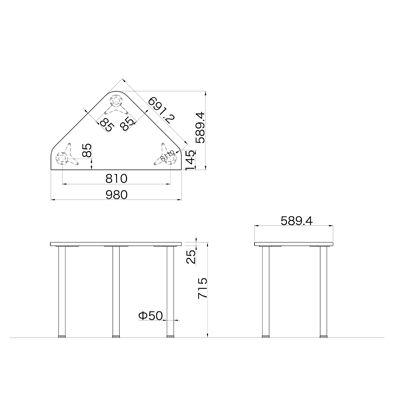 Garage(ガラージ) D2シリーズ ラウンド天板デスク 幅980mm 奥行き796(590)mm マホガニー 1台 (直送品)