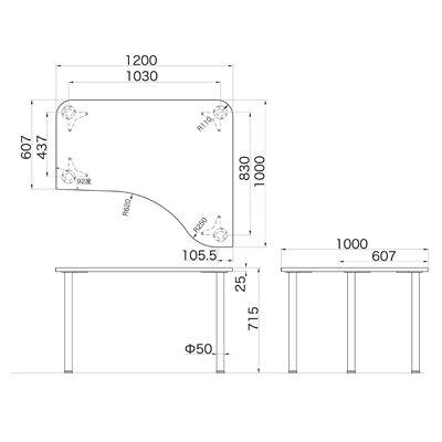 Garage(ガラージ) D2シリーズ ラウンド天板デスク 幅1200mm 奥行き1000(607)mm 白 415147 1台 (直送品)