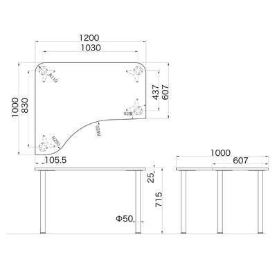 Garage(ガラージ) D2シリーズ ラウンド天板デスク 幅1200mm 奥行き1000(607)mm 白 415149 1台 (直送品)
