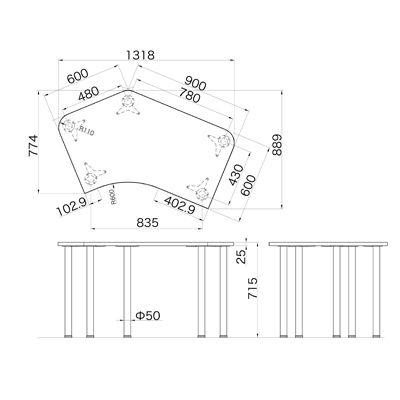 Garage(ガラージ) D2シリーズ ラウンド天板デスク 幅1279mm 奥行き848(600)mm 白 415446 1台 (直送品)