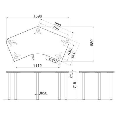 Garage(ガラージ) D2シリーズ ラウンド天板デスク 幅1595(1491)mm 奥行き890(1060)mm 白 1台 (直送品)