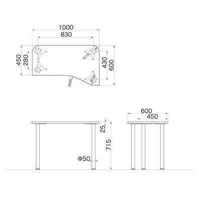 Garage(ガラージ) D2シリーズ ラウンド天板デスク 幅1000mm 奥行き600(450)mm 白 415098 1台 (直送品)
