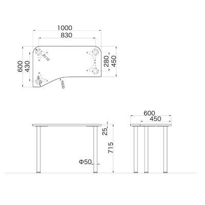 Garage(ガラージ) D2シリーズ ラウンド天板デスク 幅1000mm 奥行き600(450)mm 白 415100 1台 (直送品)