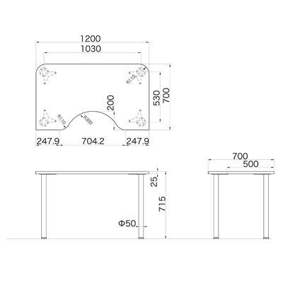 Garage(ガラージ) D2シリーズ ラウンド天板デスク 幅1200mm 奥行き700(500)mm 白 1台 (直送品)