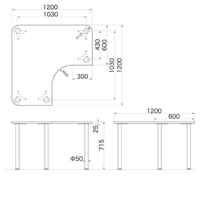 Garage(ガラージ) D2シリーズ ラウンド天板デスク 幅1200mm 奥行き1200mm 白 1台 (直送品)