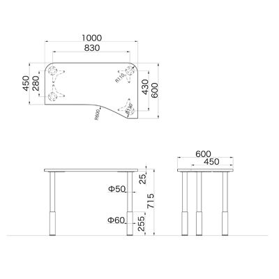 Garage(ガラージ) D2シリーズ ラウンド天板デスク(高さ調整可能脚) 幅1000mm 奥行き600(450)mm 白 415352 1台 (直送品)