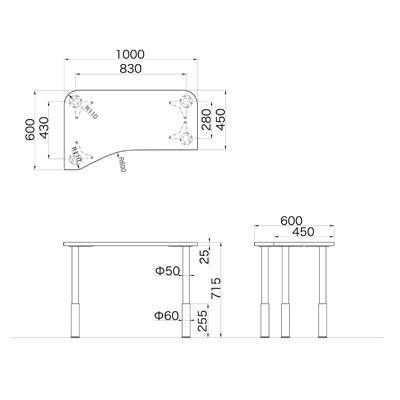 Garage(ガラージ) D2シリーズ ラウンド天板デスク(高さ調整可能脚) 幅1000mm 奥行き600(450)mm 白 415358 1台 (直送品)