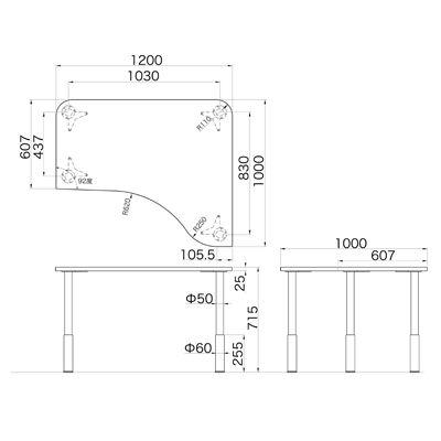 Garage(ガラージ) D2シリーズ ラウンド天板デスク(高さ調整可能脚) 幅1200mm奥行き1000(607)mm マホガニー415402 1台(直送品)