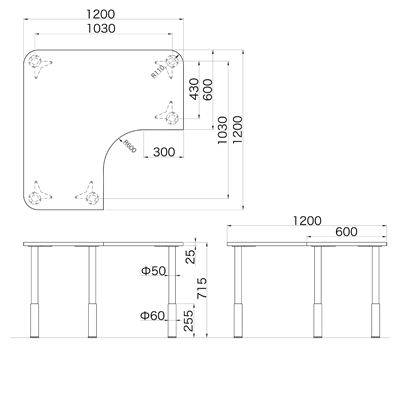 Garage(ガラージ) D2シリーズ ラウンド天板デスク(高さ調整可能脚) 幅1200mm 奥行き1200mm 白 1台 (直送品)