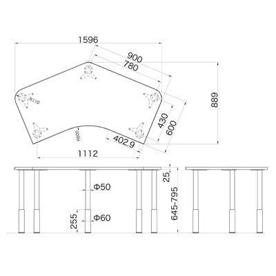 Garage(ガラージ) D2シリーズ ラウンド天板デスク(高さ調整可能脚) 幅1595(1491)mm 奥行き890(1060)mm マホガニー (取寄
