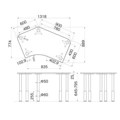 Garage(ガラージ) D2シリーズ ラウンド天板デスク(高さ調整可能脚) 幅1279mm 奥行き848(600)mm 白 415929 1台 (直送品)