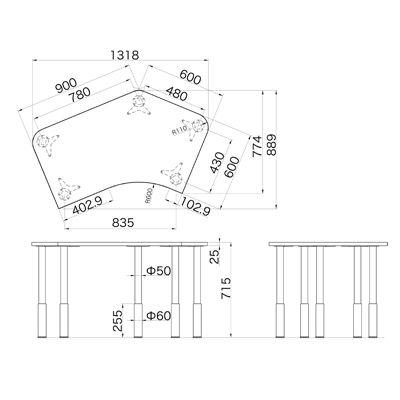 Garage(ガラージ) D2シリーズ ラウンド天板デスク(高さ調整可能脚) 幅1279mm 奥行き848(600)mm 白 415940 1台 (直送品)