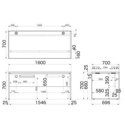 Garage(ガラージ) AFシリーズ デスク 平机 引出し無し ホワイト 幅1600×奥行700×高さ700mm 1台 (直送品)