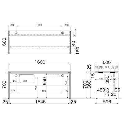 Garage(ガラージ) AFシリーズ デスク 平机 引出し無し 濃木目 幅1600×奥行600×高さ700mm 1台 (直送品)