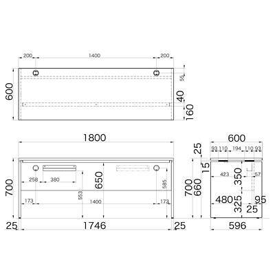 Garage(ガラージ) AFシリーズ デスク 平机 引出し無し 濃木目 幅1800×奥行600×高さ700mm 1台 (直送品)