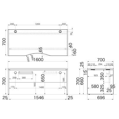 Garage(ガラージ) AFシリーズ ラウンド天板デスク 幅1600mm 奥行き700mm 白 1台 (直送品)