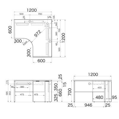 Garage(ガラージ) AFシリーズ ラウンド天板デスク 幅1200mm 奥行き1200mm 白 1台 (直送品)