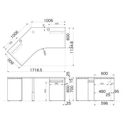 Garage(ガラージ) AFシリーズ ラウンド天板デスク 幅1717mm 奥行き1135mm 白 1台 (直送品)