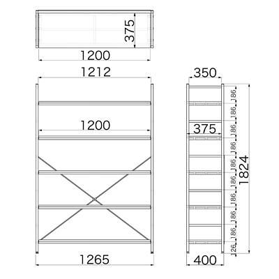 Garage(ガラージ) OSシリーズ ラック オープン収納タイプ 幅1262mm 奥行き400mm 高さ1824mm 木目 1台 (直送品)