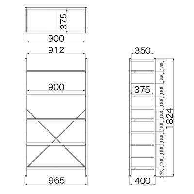 Garage(ガラージ) OSシリーズ ラック オープン収納タイプ 幅962mm 奥行き400mm 高さ1824mm 木目 1台 (直送品)