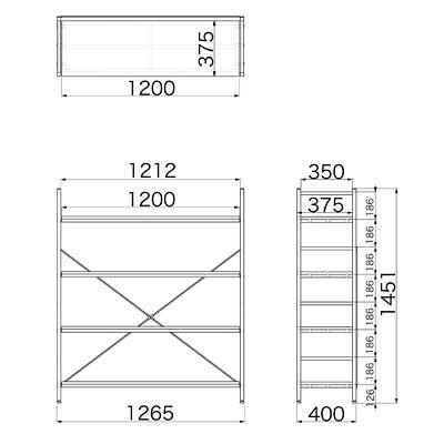 Garage(ガラージ) OSシリーズ ラック オープン収納タイプ 幅1262mm 奥行き400mm 高さ1451mm 木目 1台 (直送品)