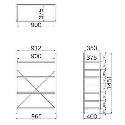 Garage(ガラージ) OSシリーズ ラック オープン収納タイプ 幅962mm 奥行き400mm 高さ1451mm 木目 1台 (直送品)
