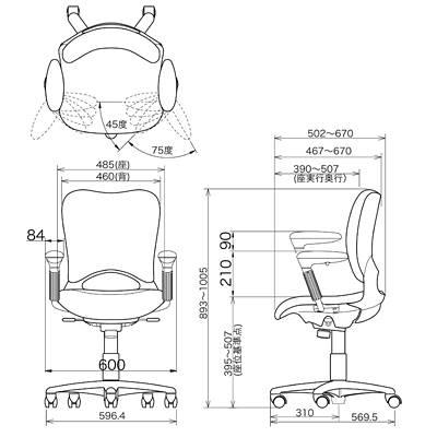 ガラージ OCシリーズ オフィスチェア ハイバック ウレタンキャスター アジャスト肘付 ブラック 418295 1脚 (直送品)