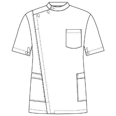 フォーク 男子医務衣 ホワイト L 1087-1 1枚 (直送品)