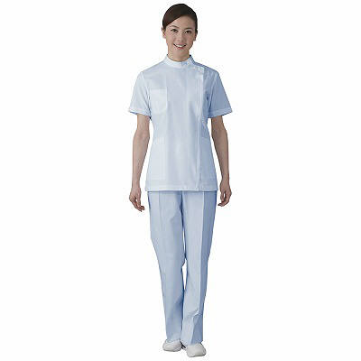 フォーク 女子医務衣 サックス EL 2089-2 1枚 (直送品)