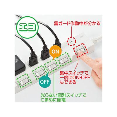 サンワサプライ 節電エコタップ (2P・4個口・3m) 3m TAP-S16-3 (取寄品)