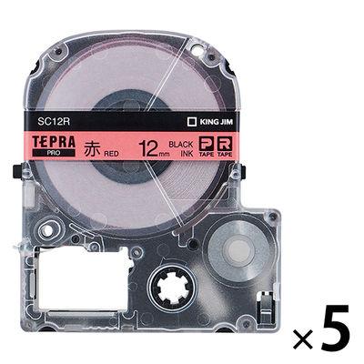 キングジム テプラ PROテープ 12mm カラーラベル パステル 赤ラベル(黒文字) 1パック(5個入) SC12R