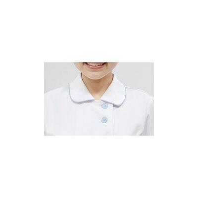 レディスジャケット(ナースジャケット) 半袖 A73-1424 白/サックス M
