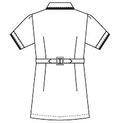 フォーク チュニック L ホワイト×ネイビー 2005CR-1L (直送品)