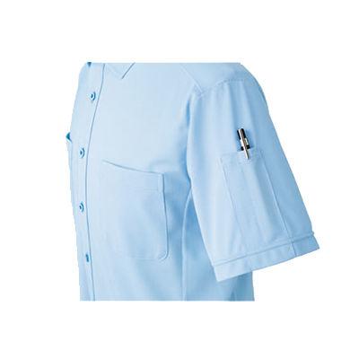 明石スクールユニフォームカンパニー 男女兼用ニットシャツ サックス L UN5502-6-L (直送品)