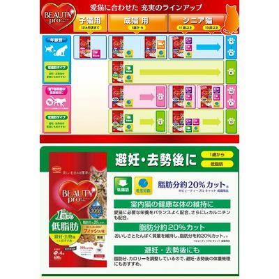 日本ペットフード ビューティープロ キャット 室内猫 成猫用 低脂肪 600g 68290 1セット(3個入)