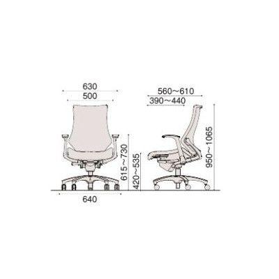 イトーキ エフチェア クロスバック ハイバック ブラックフレーム ブラック樹脂脚 T型肘付 背座:サンドイエロー 1脚 (直送品)