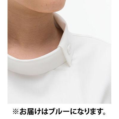 ナガイレーベン チュニック(ロールカラー) 医療白衣 半袖 ブルー M FE-4522 (取寄品)