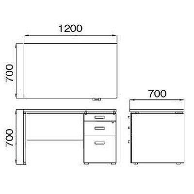ARAN WORLD(アランワールド) エイドス(EIDOS) 片袖机 メープル 幅1200×奥行700×高さ700mm 1台(3梱包) (取寄品)