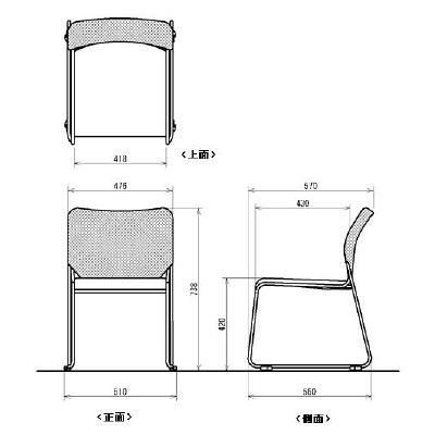 中央可鍛工業 メッシュスタッキングチェアJB ブラック 1脚 (取寄品)