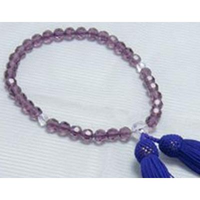数珠 上紫切子 P切子仕立