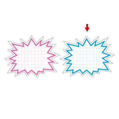タカ印 抜型カード 爆発 大 ブルー 16-4189 1箱(30枚入×5冊) (取寄品)