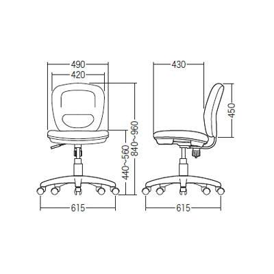 サンワサプライ ミドルバックOAチェア オフィスチェア 肘無し ブラック SNC-T146BK 1脚 (直送品)