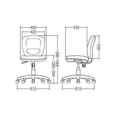 サンワサプライ ミドルバックOAチェア オフィスチェア 肘無し ブルー SNC-T146BL 1脚 (直送品)