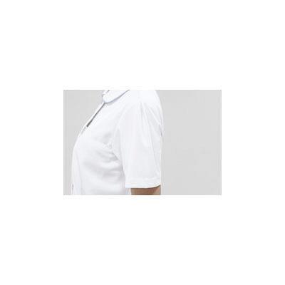 住商モンブラン レディスジャケット(ナースジャケット) 半袖 白/サックスブルー LL A73-1424