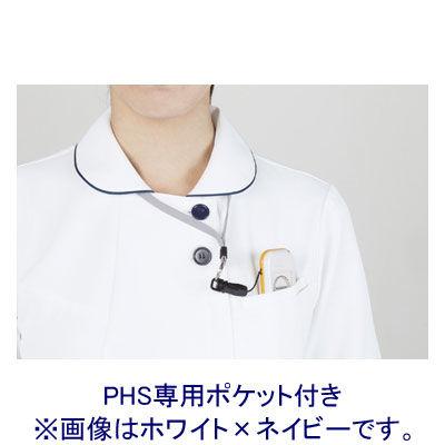 住商モンブラン ラウンドカラーワンピース ナースワンピース 医療白衣 半袖 ホワイト×ネイビー 3L 73-1958 (直送品)