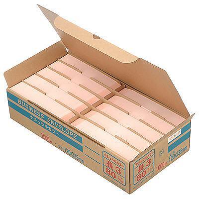 ムトウユニパック ナチュラルカラー封筒 長3 ピンク 1000枚